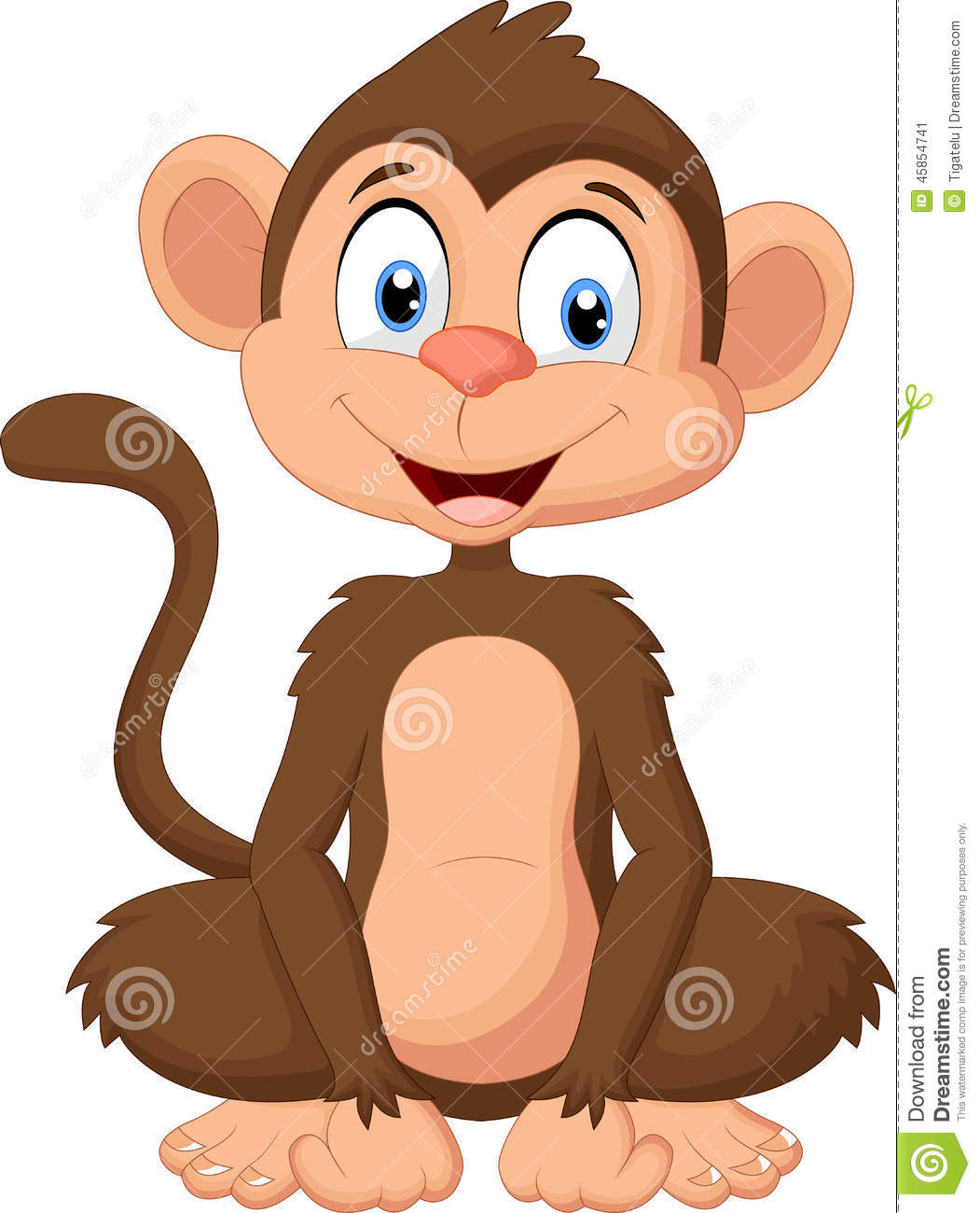 cartoon monkey sitting stock vector illustration of wild 45854741