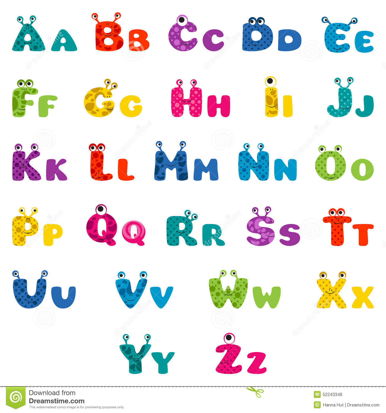 cartoon monster alphabet stock vector illustration of children