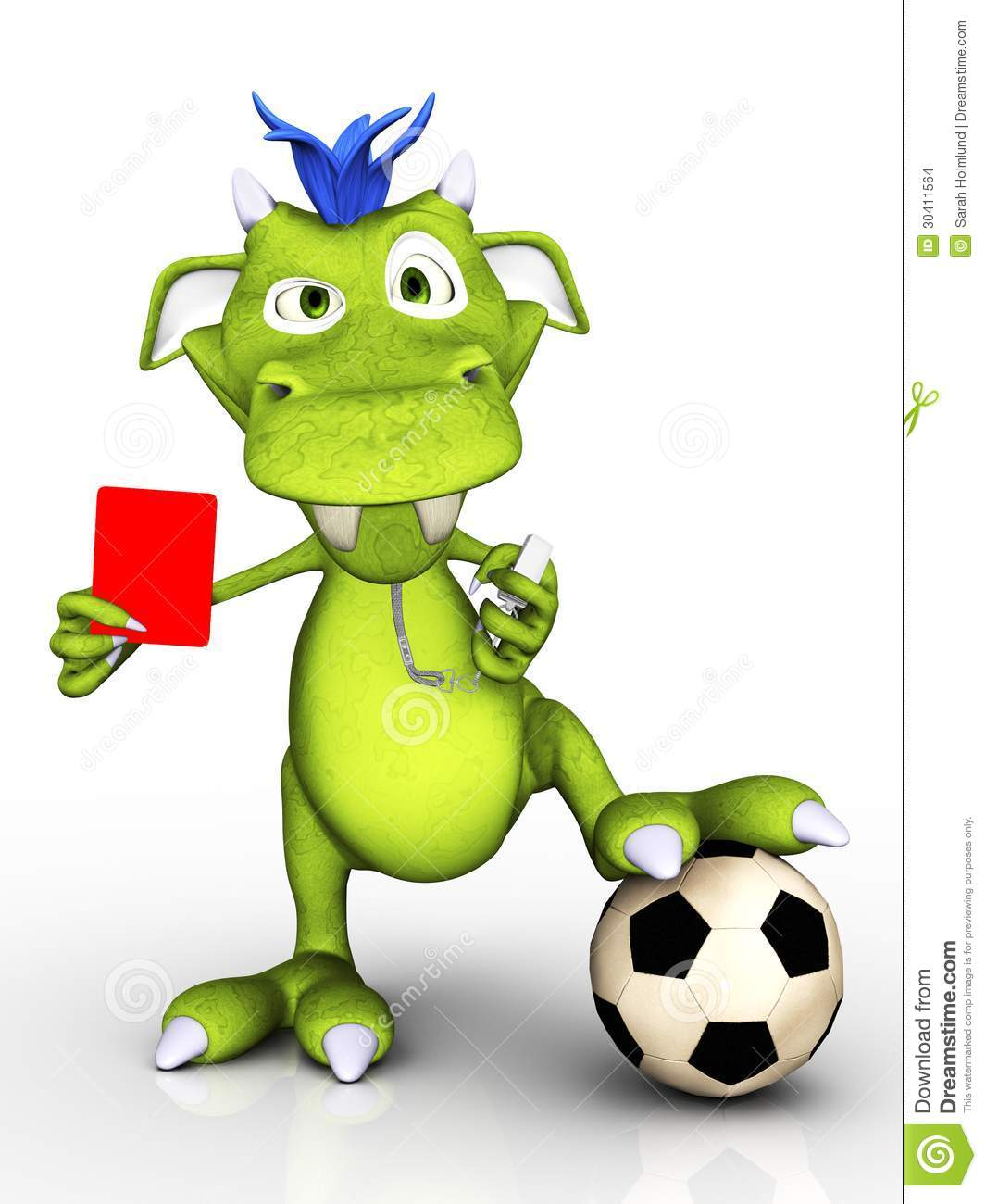 cute cartoon monster acting as a soccer referee, holding up a red ...