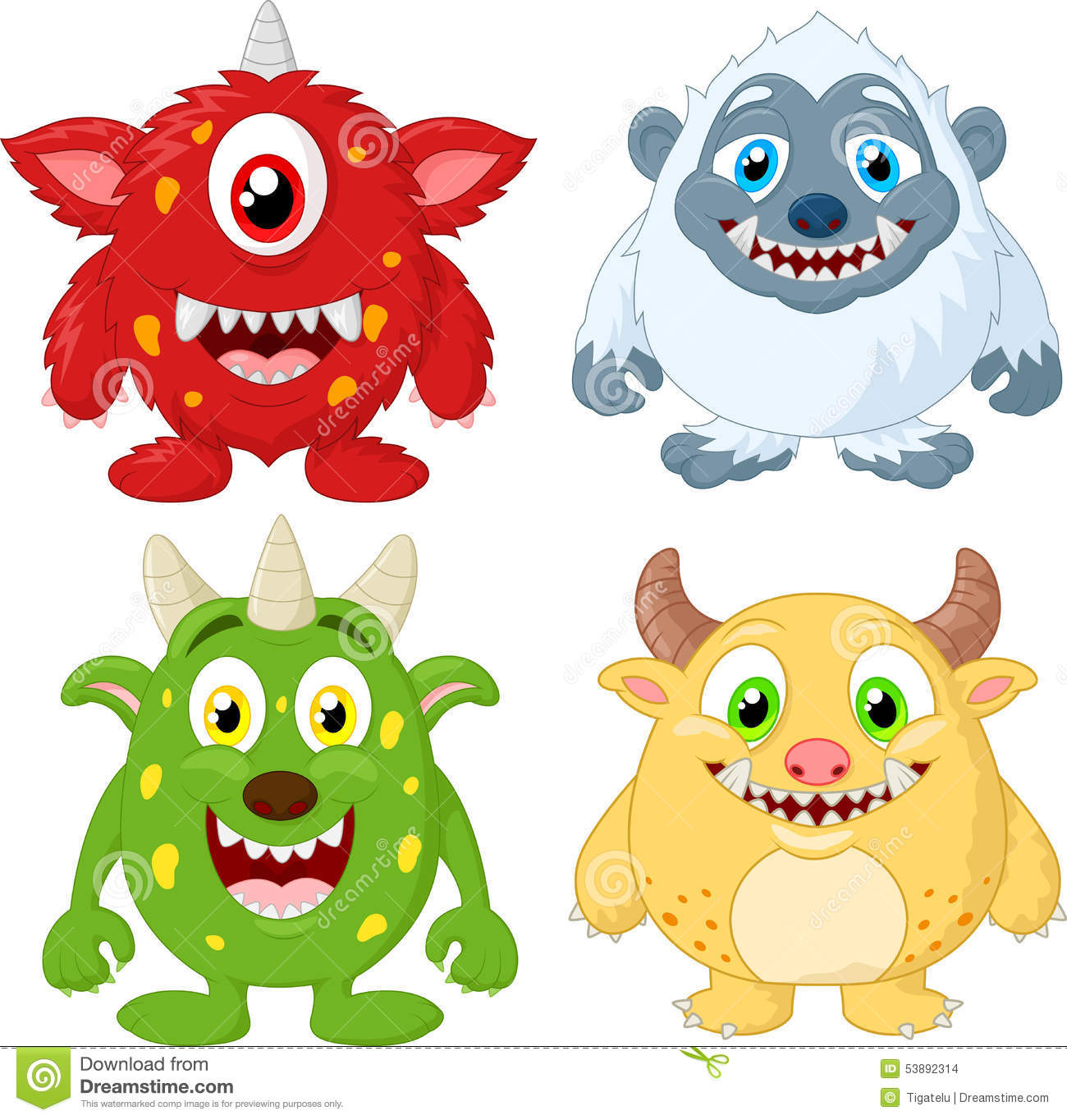 Cartoon Monster Collection Set Stock Vector - Image: 53892314