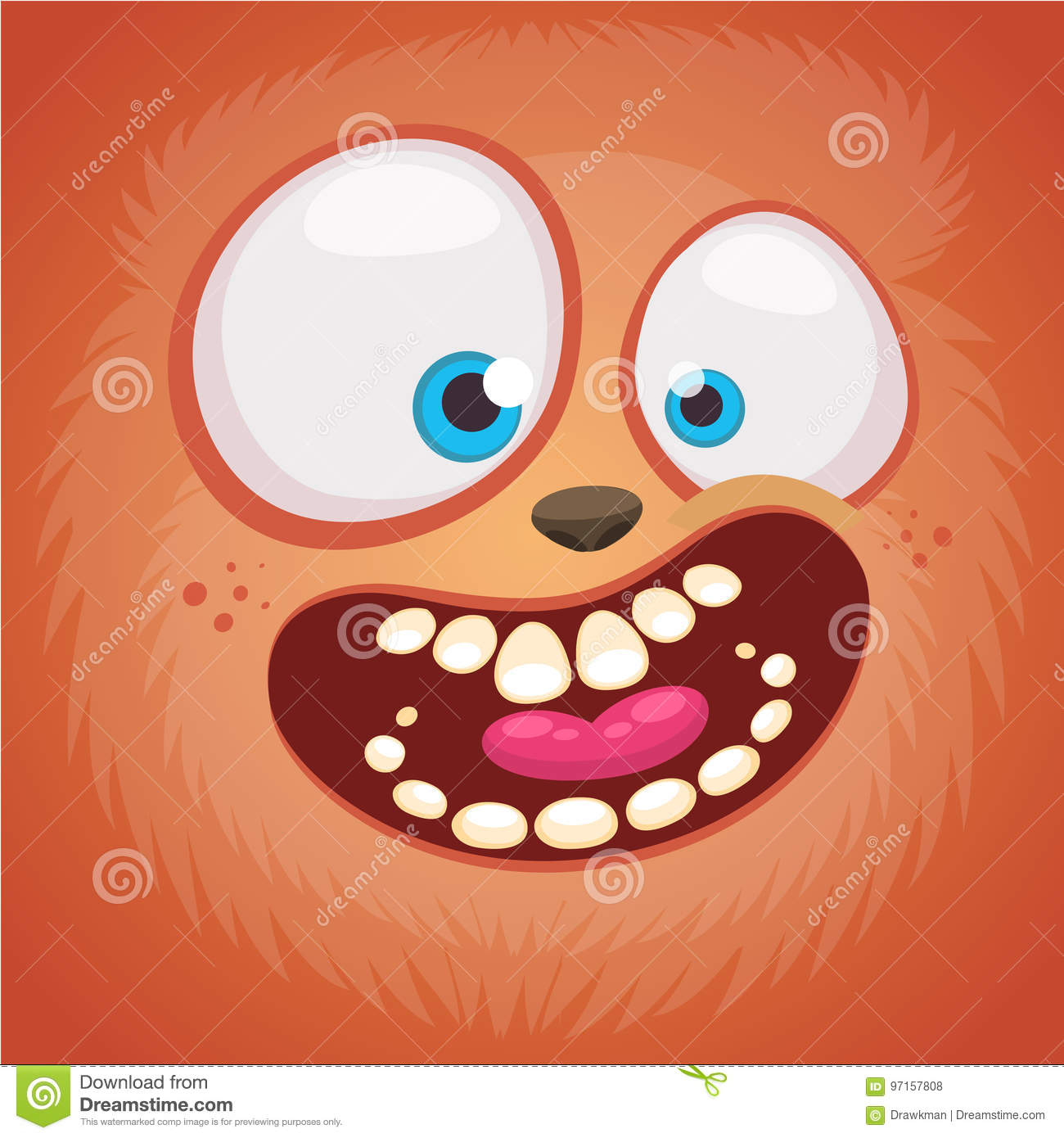 cartoon monster face . vector halloween furry happy monster square
