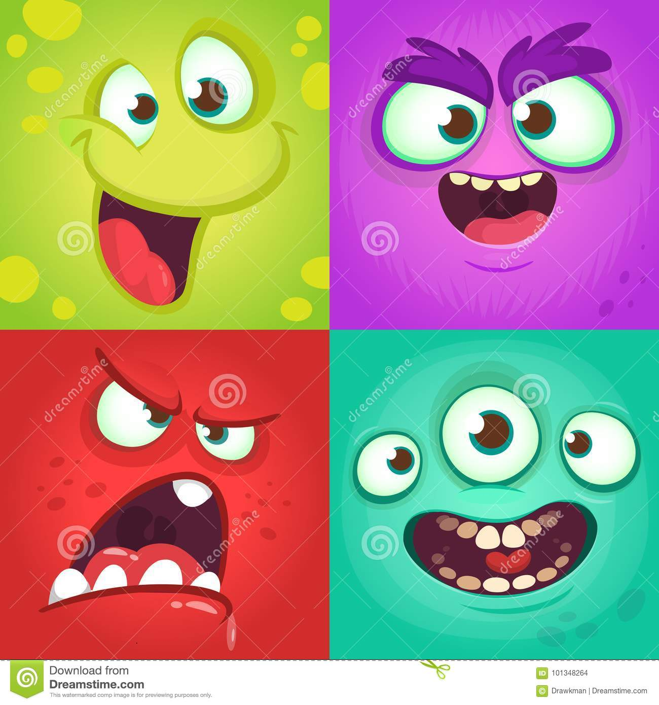 Cartoon monster faces set. Vector set of four Halloween monster faces with different expressions. Children book illustrations
