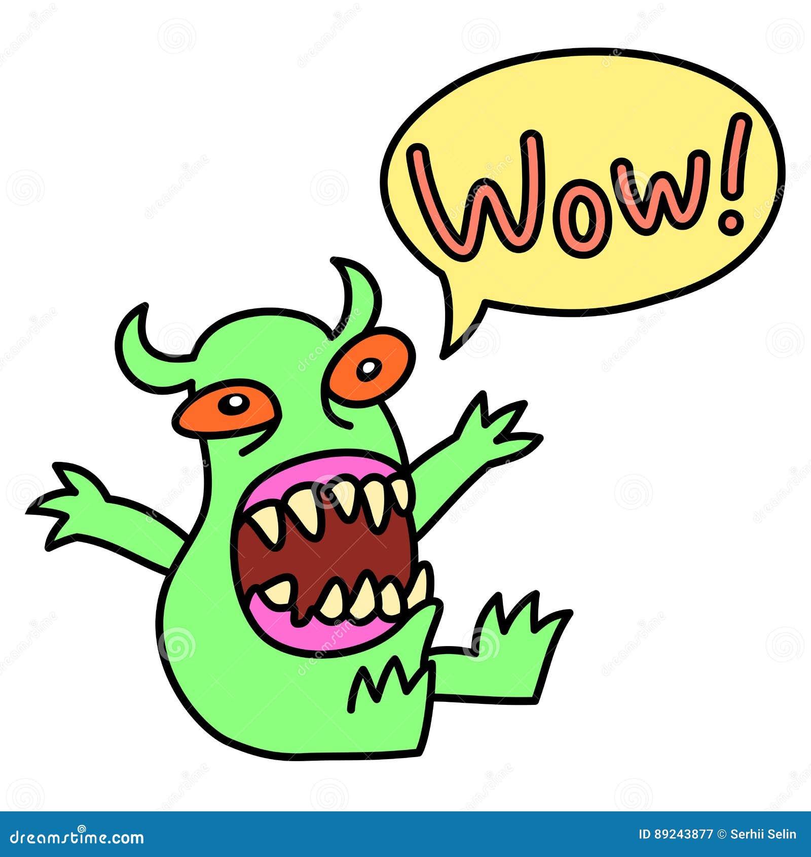Cartoon Monster Screaming Wow Speech Bubble Vector Illustration