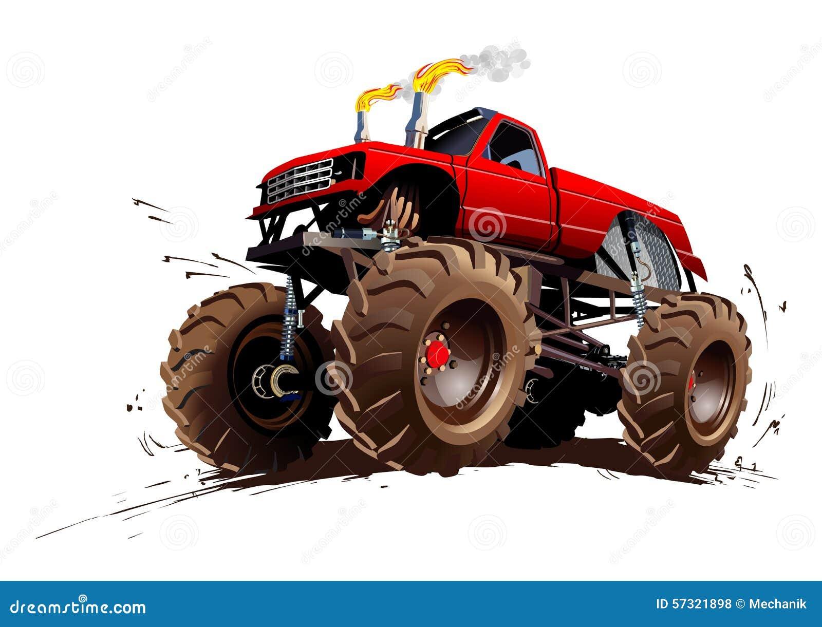Muddy Tractor Clip Art : Cartoon monster truck stock vector illustration of