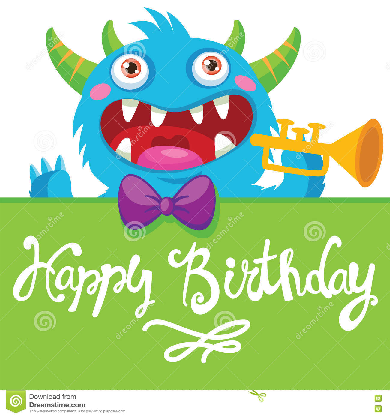 Cartoon Monster Vector Illustration Funny Birthday Greeting Card Theme Pocket Pipes Noise