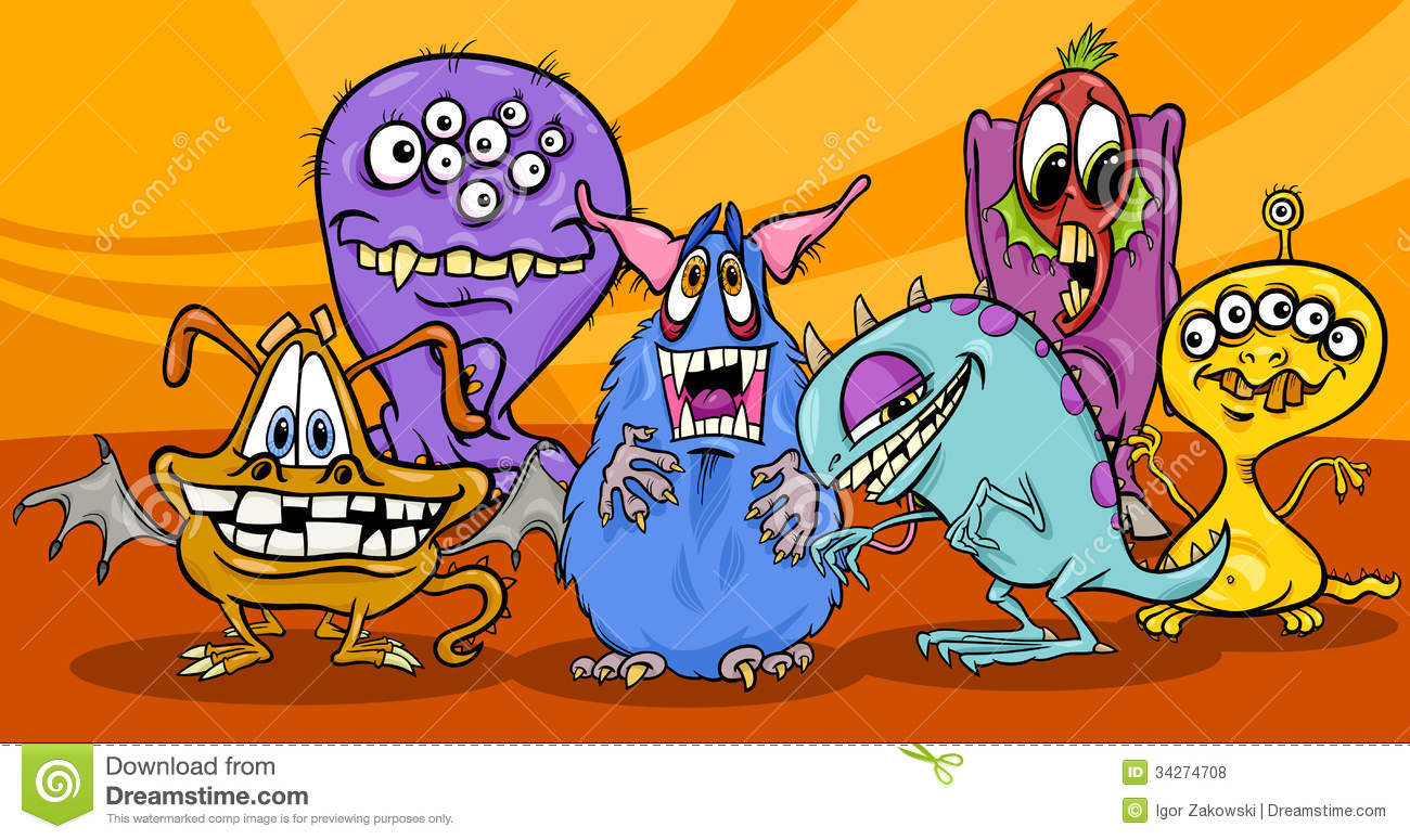 Cartoon Monsters Illustration Group Royalty Free Stock Photos Image 34274708