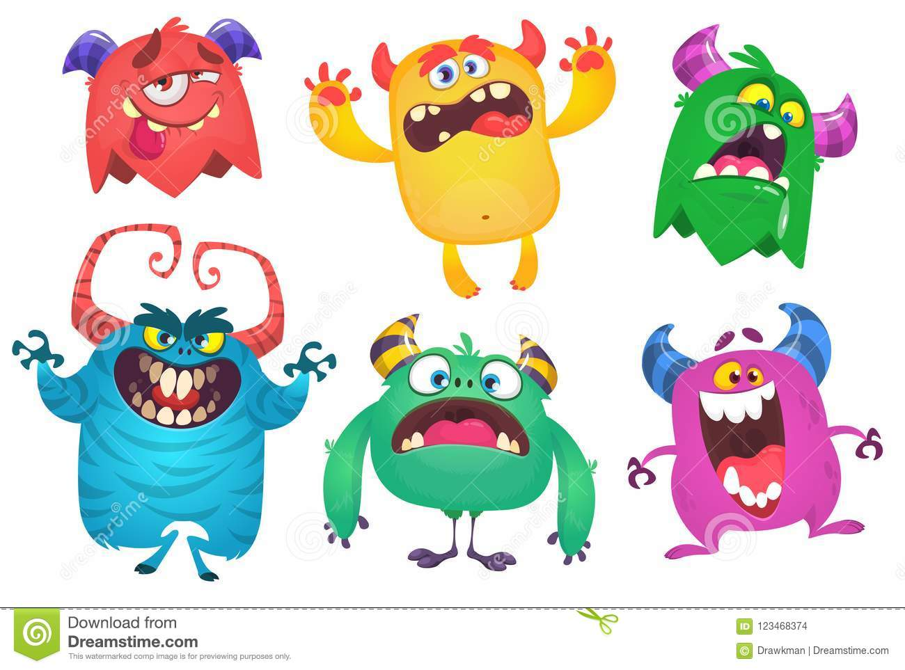 Cartoon Monsters. Vector set of cartoon monsters isolated. Design for print, party decoration, t-shirt, illustration, logo, emblem