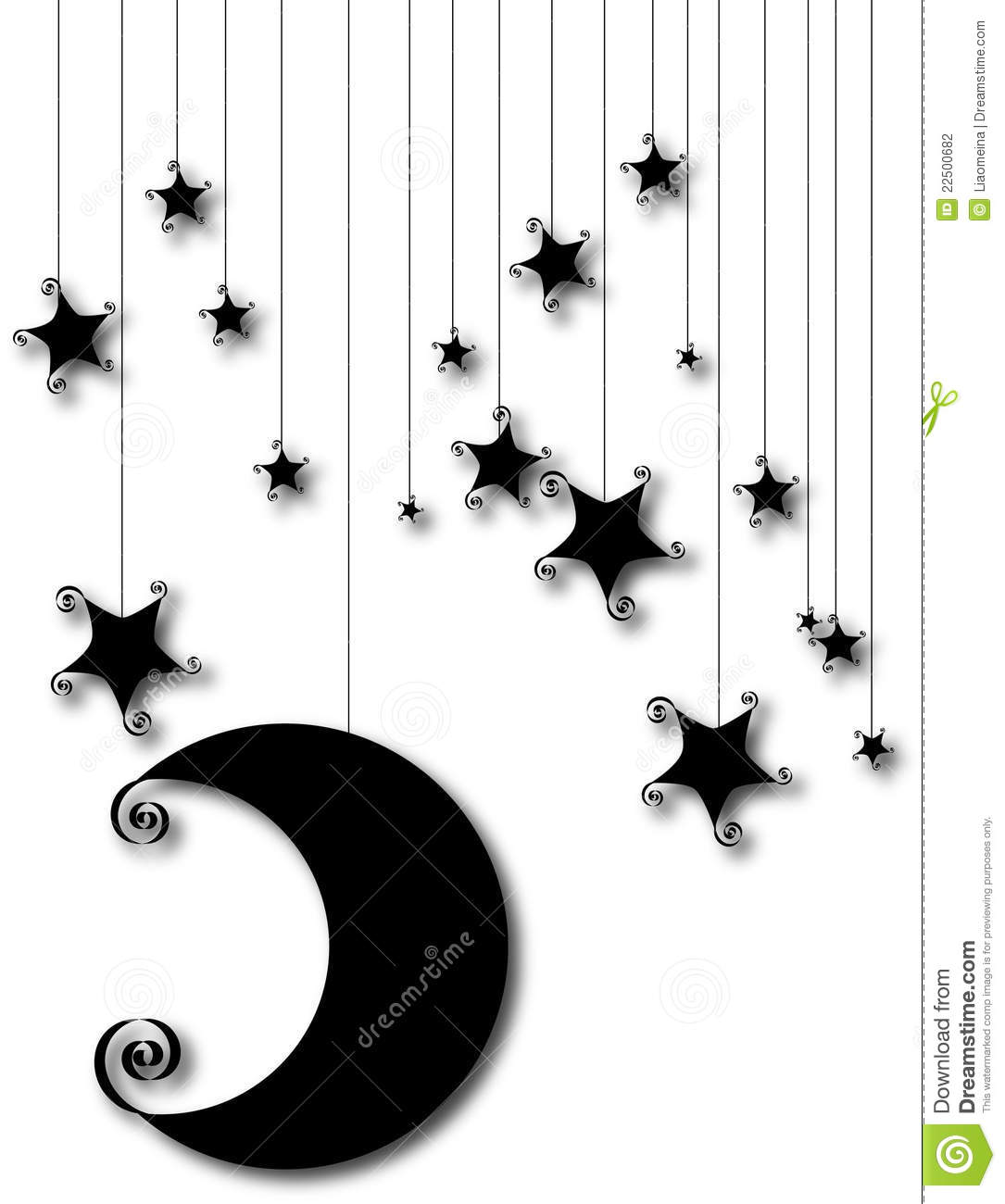 Cartoon Moon And Star Silhouette Isolated On White Stock