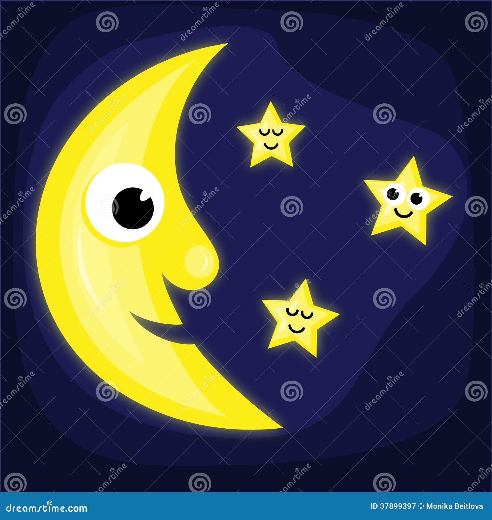Cartoon Moon And Stars Stock Vector Illustration Of Shine