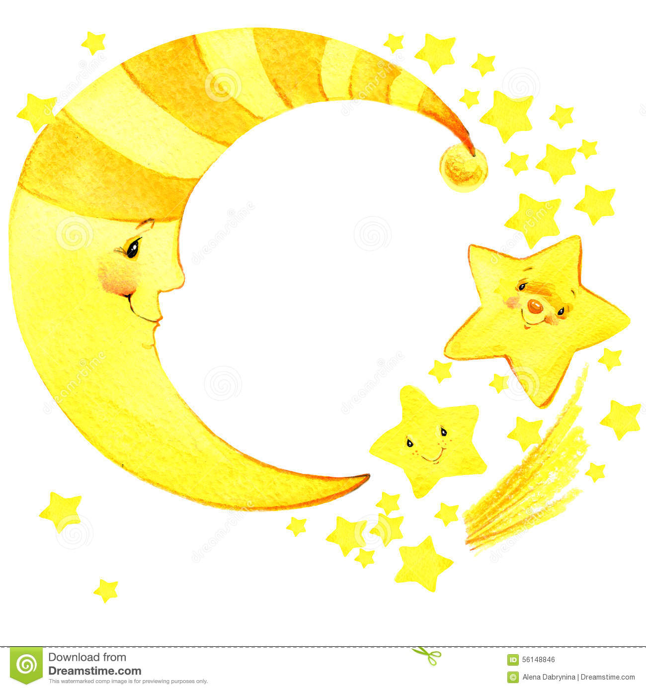 Cartoon moon and stars watercolor illustration stock for Images of stars for kids