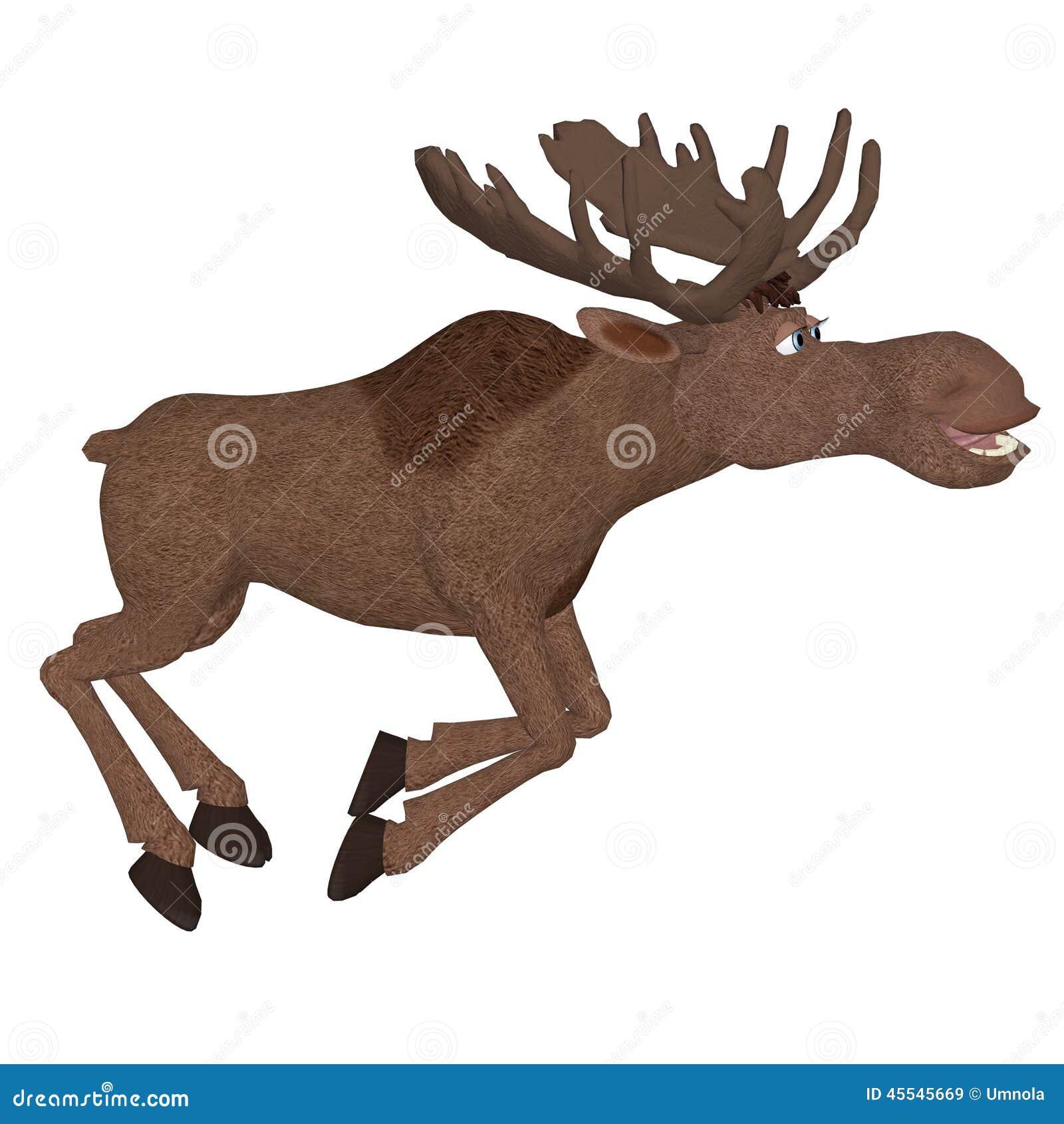 Cartoon moose running stock illustration. Illustration of frame ...