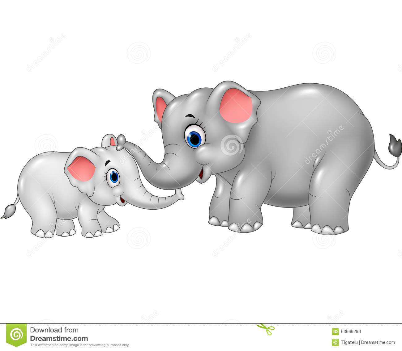 Cartoon Mother And Baby Elephant Bonding Relationship ...