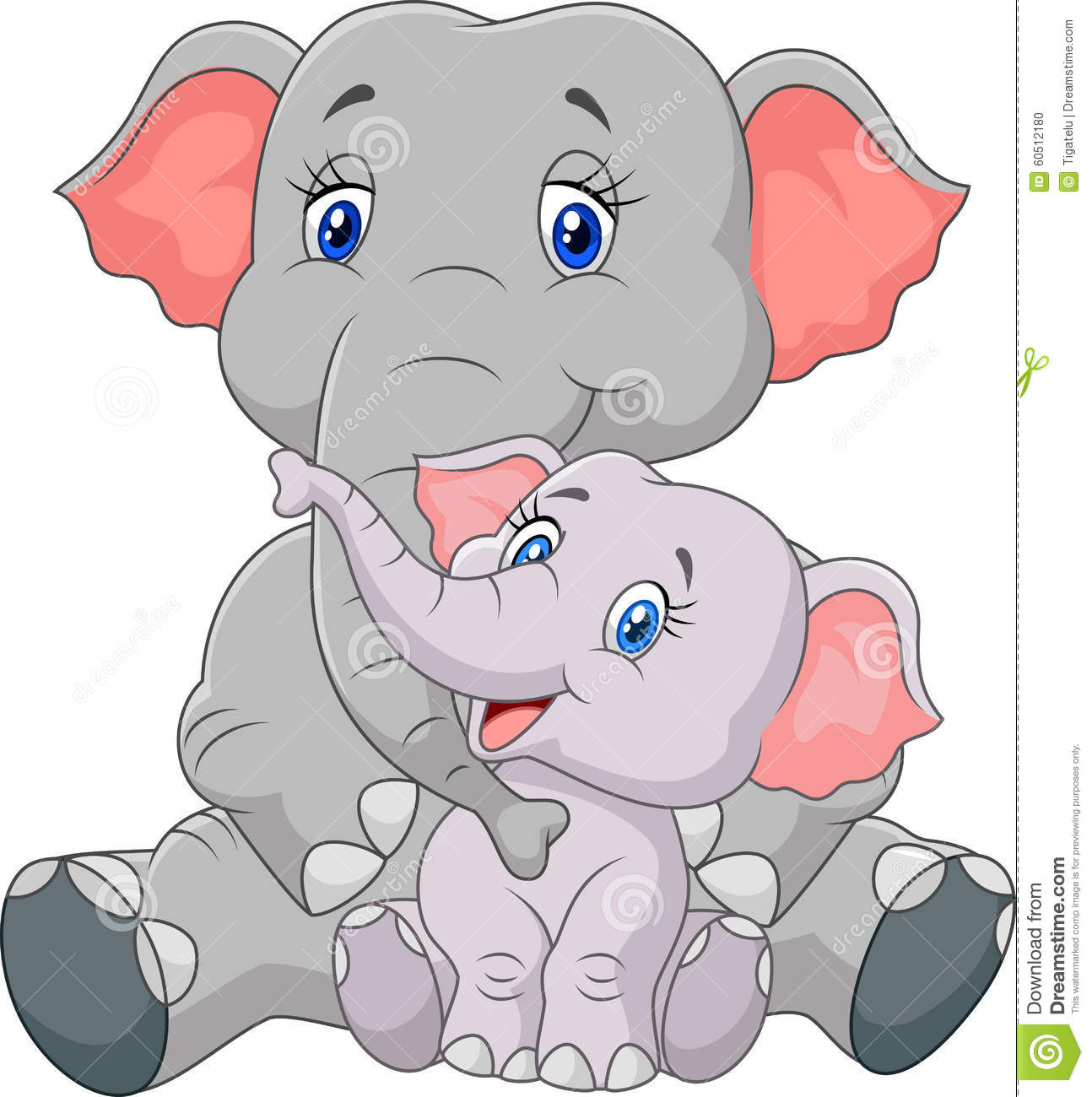 Cartoon Mother And Baby Elephant Sitting Isolated On White ...