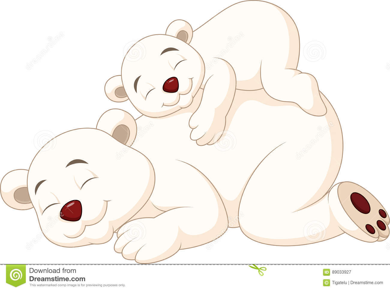Cartoon Mother And Baby Polar Bear Sleeping Stock Vector Illustration Of Polar Care 89033927