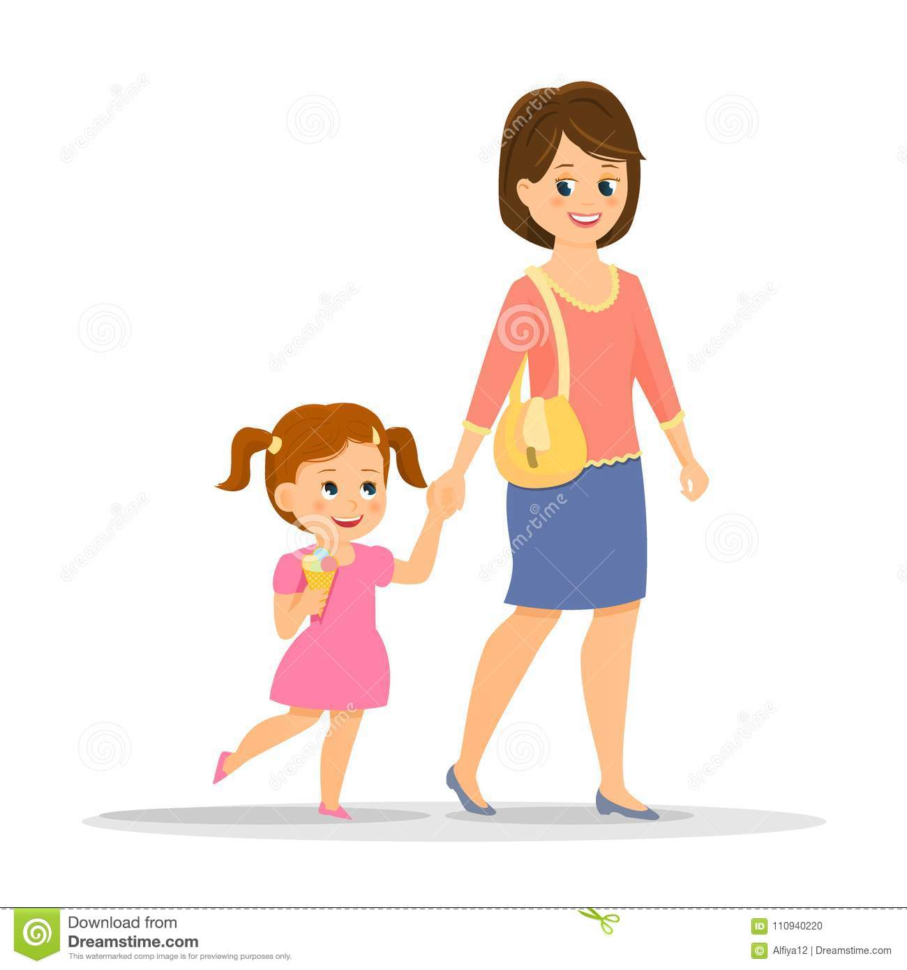 Cartoon Mother With Her Daughter Stock Vector
