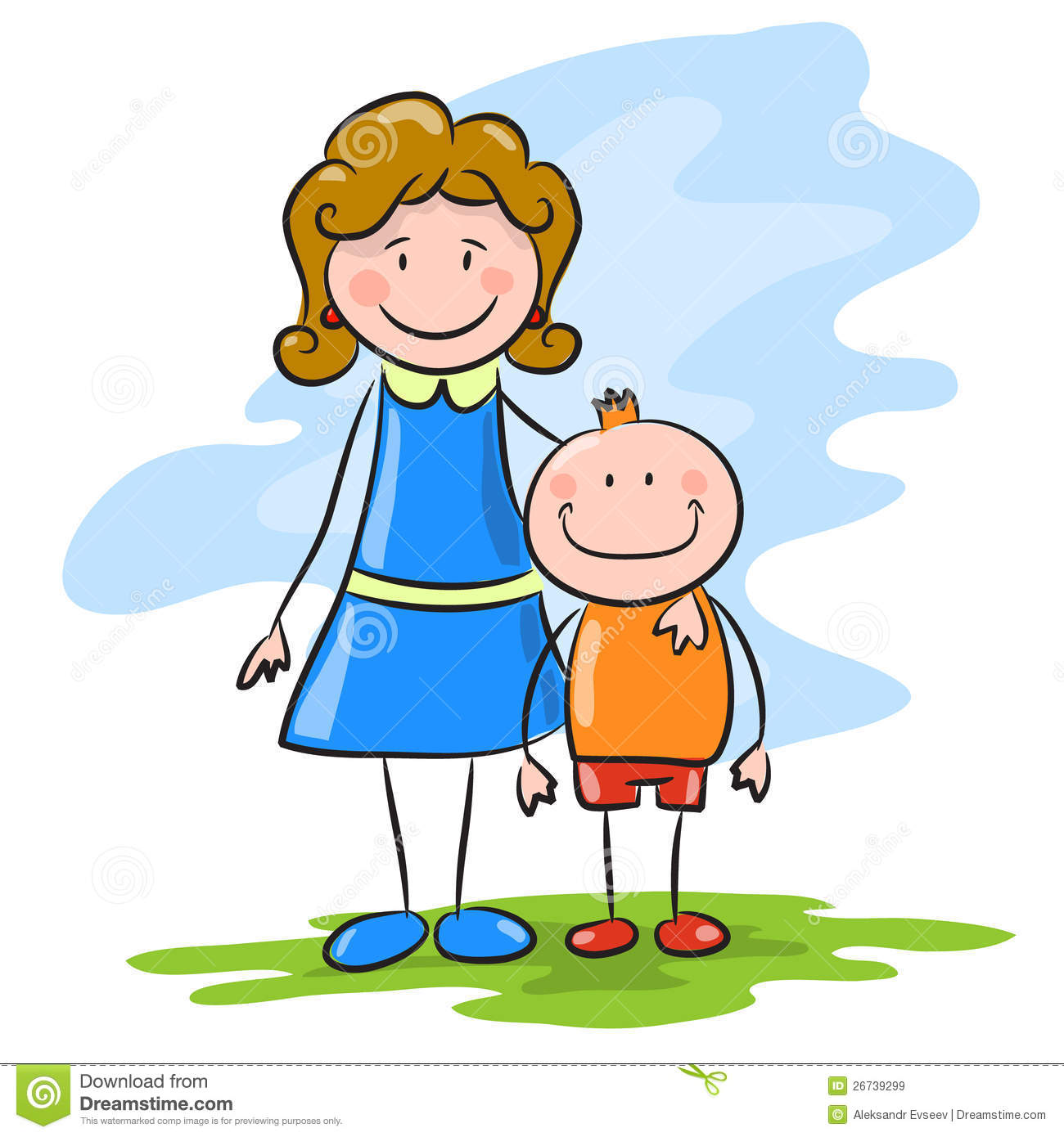 Cartoon Mother And Son