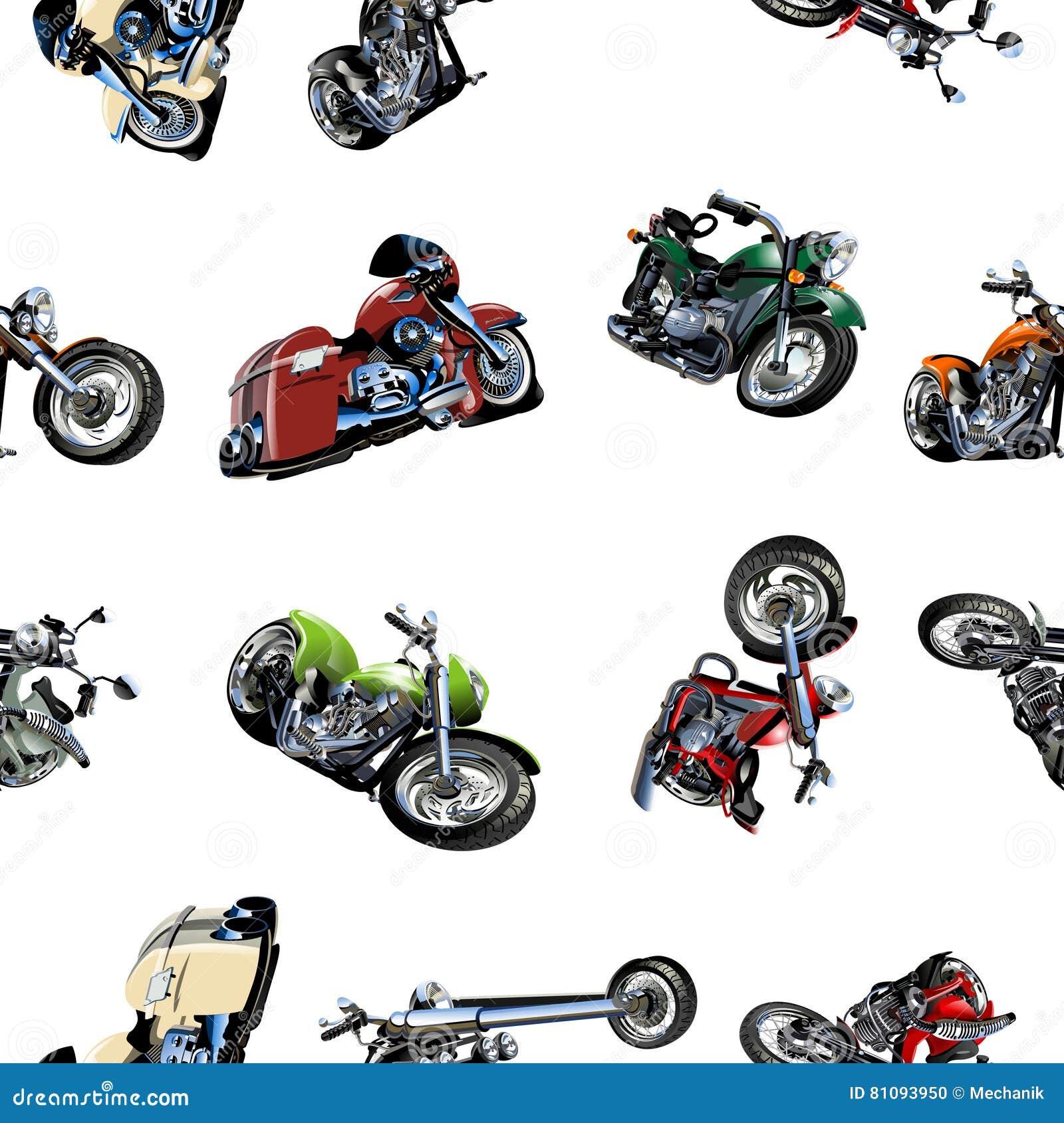 Motorcycle Background Pattern Cartoon Vector ...