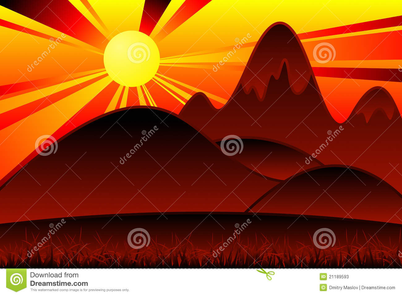 cartoon mountains stock vector image of nature yellow