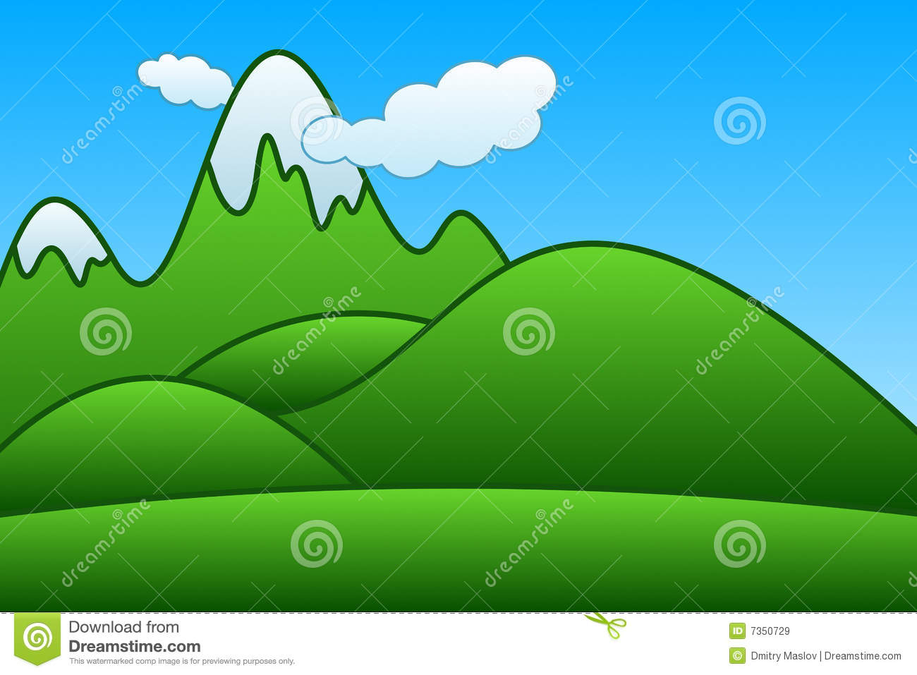 Cartoon Mountains Royalty Free Stock Images - Image: 7350729
