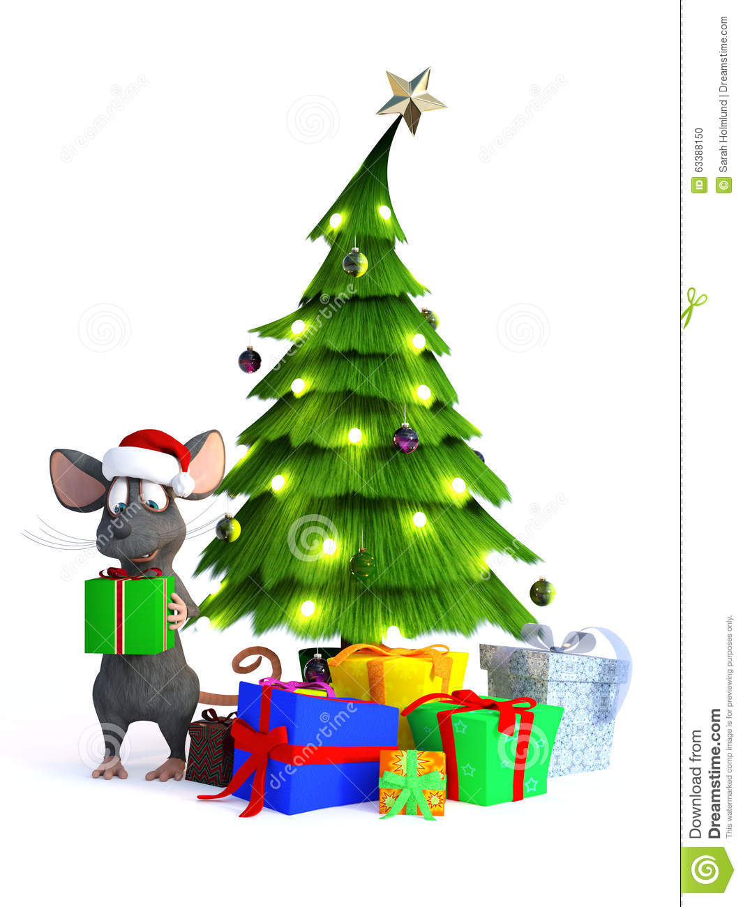 Cartoon mouse with christmas gifts stock illustration