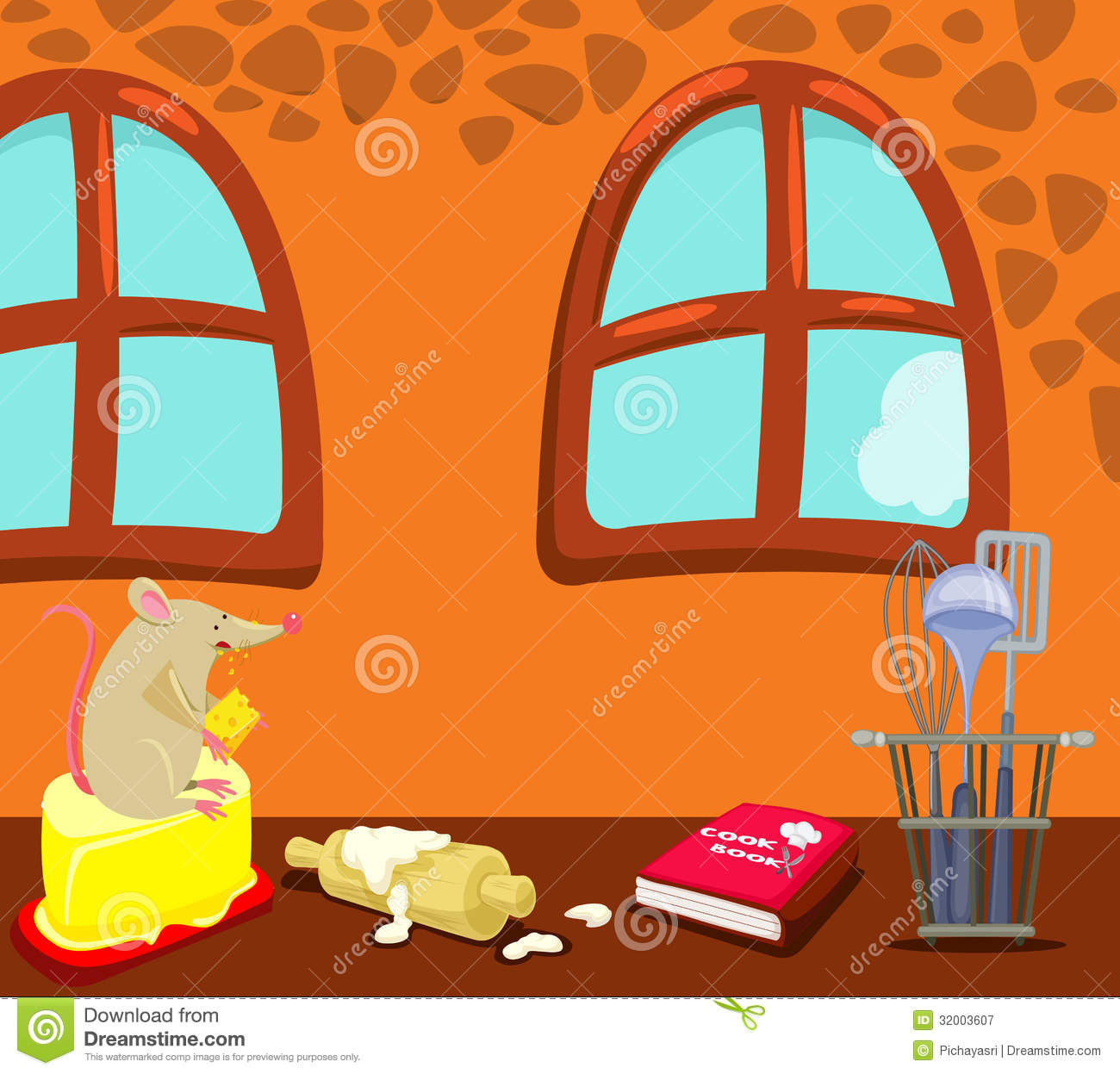 Cartoon Mouse Eating In The Kitchen Royalty Free Stock Photography
