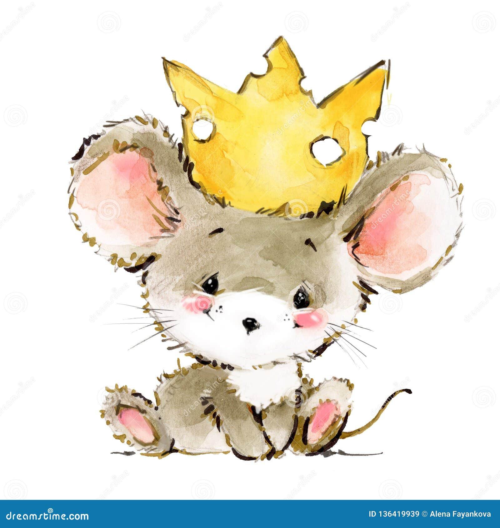 Cartoon Mouse Watercolor Illustration Cute Mice Stock