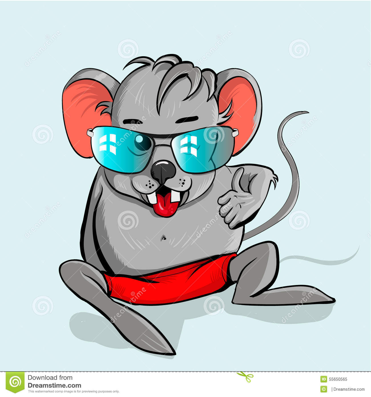 Cartoon Mouse Wearing Glasses Stock Vector