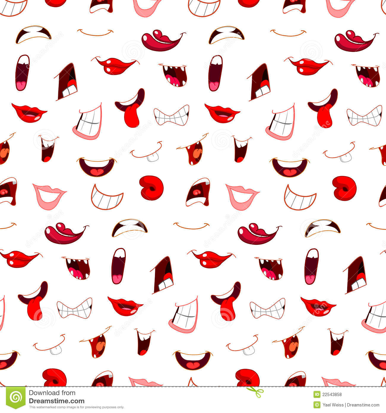 Cartoon Mouths Pattern Royalty Free Stock Photos Image