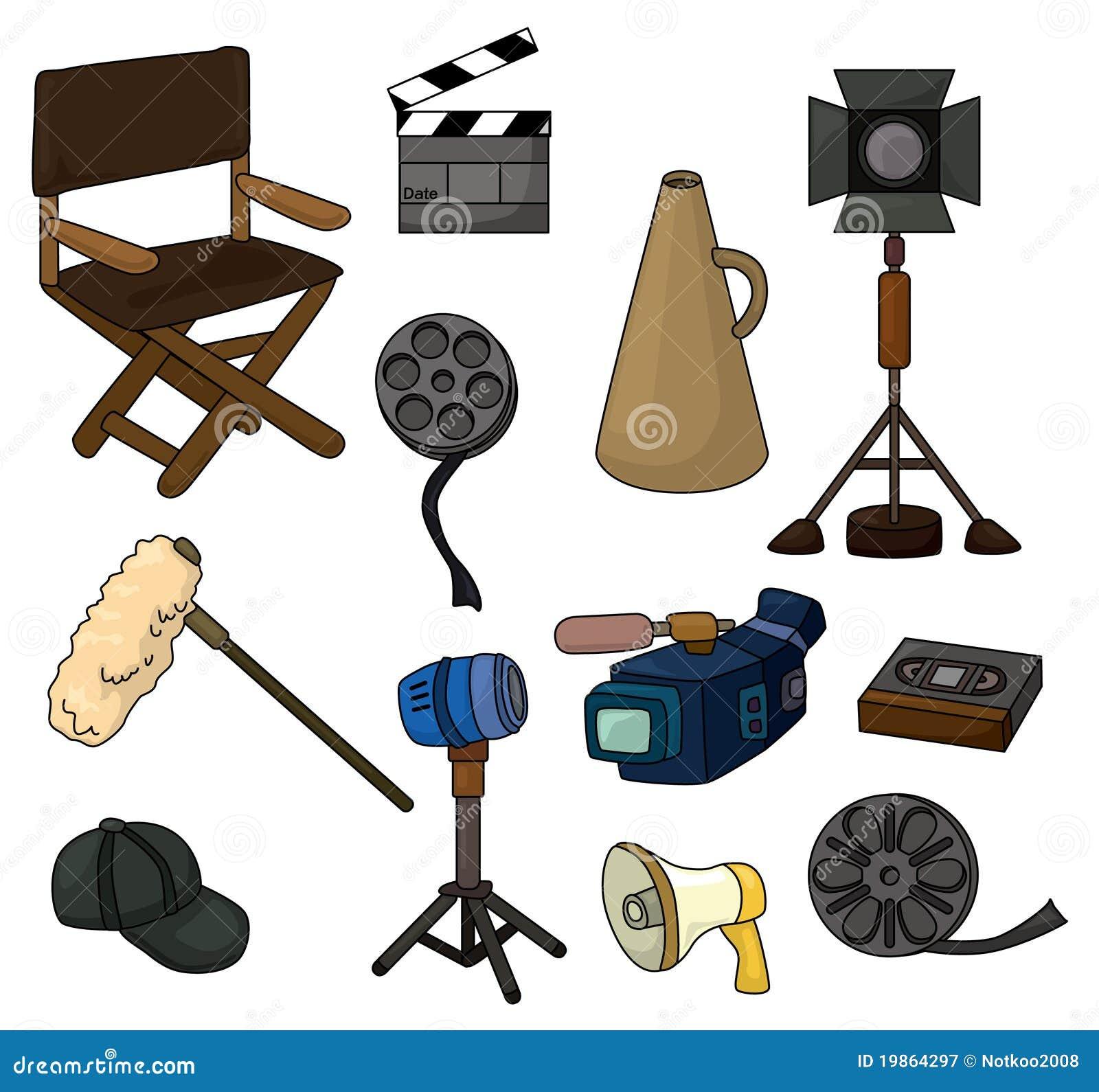 Cartoon Movie Equipment Icon Set Stock Vector Image