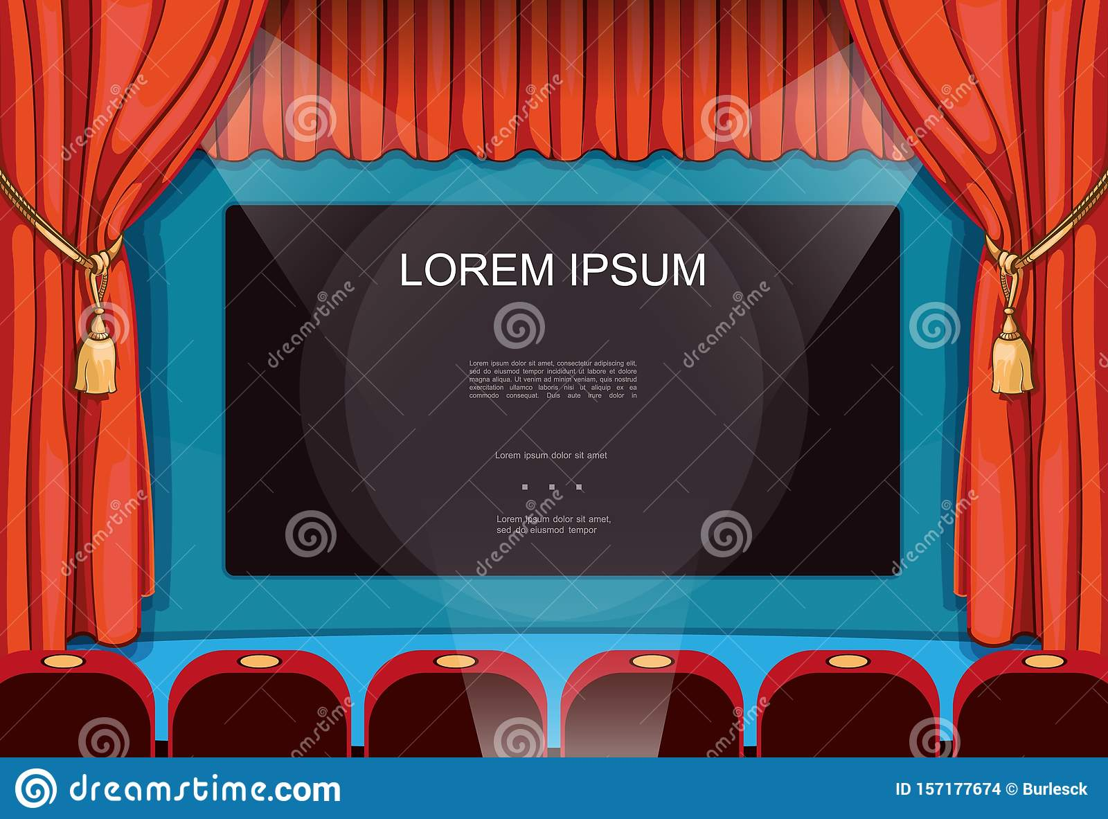 Cartoon Movie Premiere Concept Stock Vector Illustration Of Cinema Decor 157177674