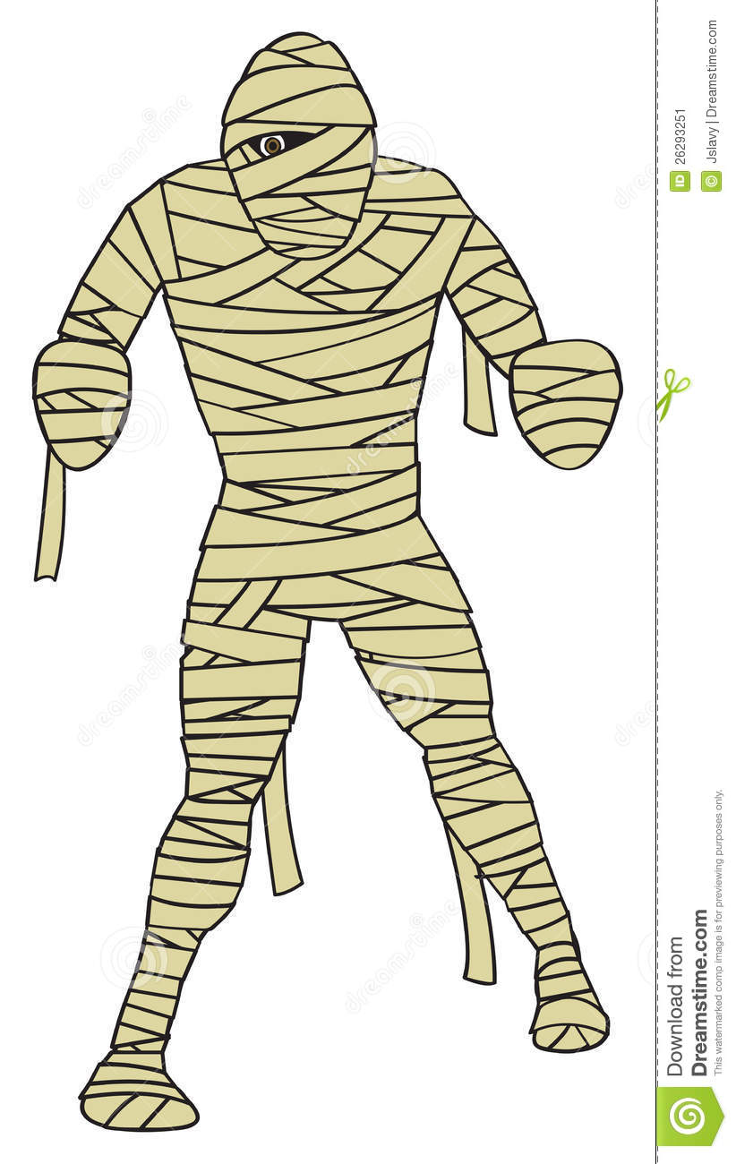 cartoon depiction of the classic egyptian mummy monster.