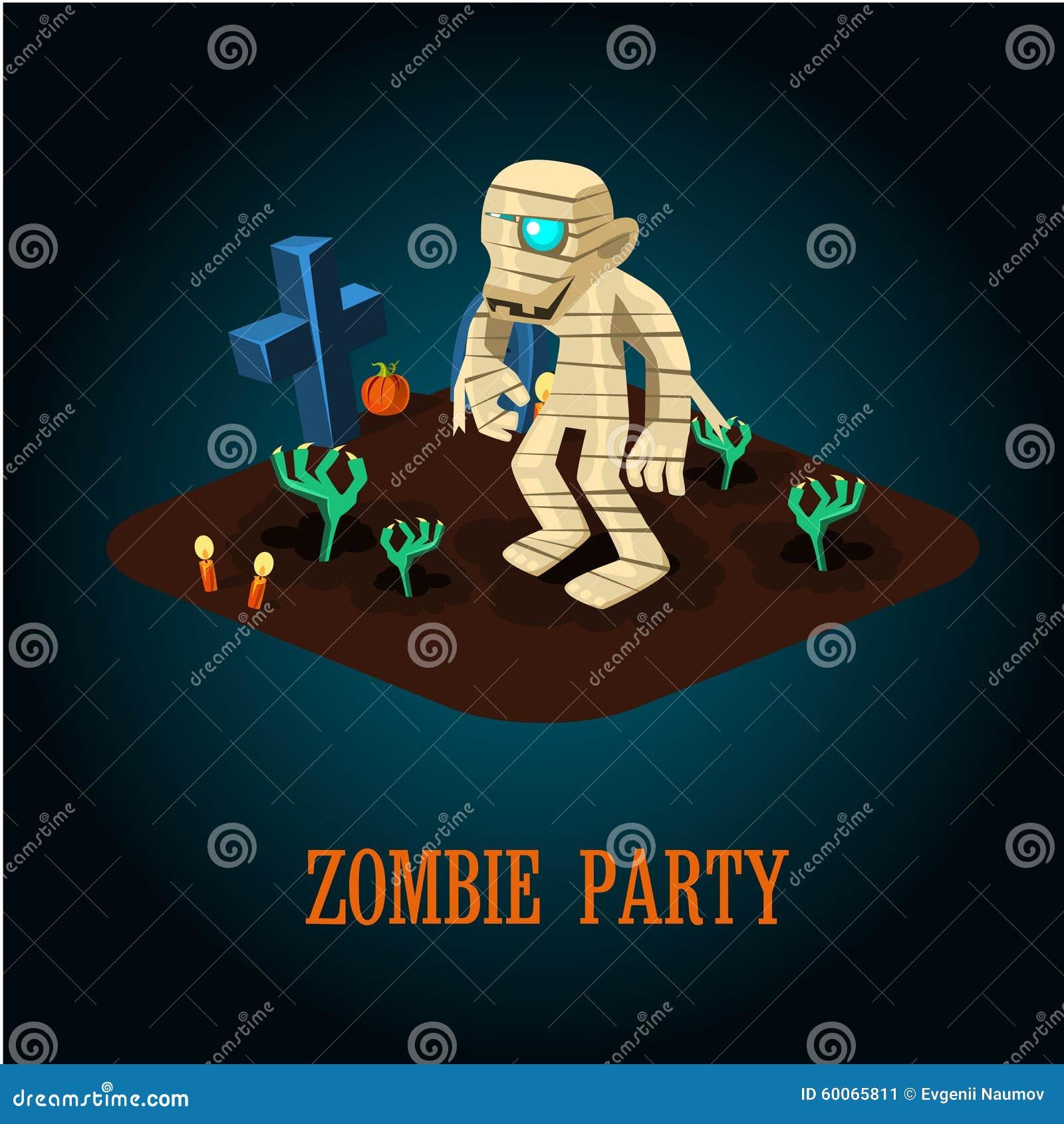 cartoon mummy on night halloween cemetery vector stock vector