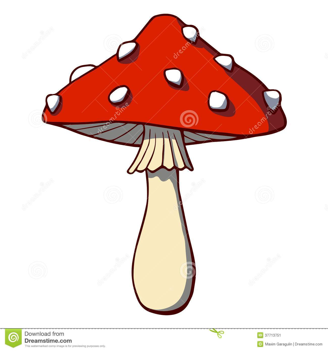 cartoon mushroom amanita vector illustration stock vector