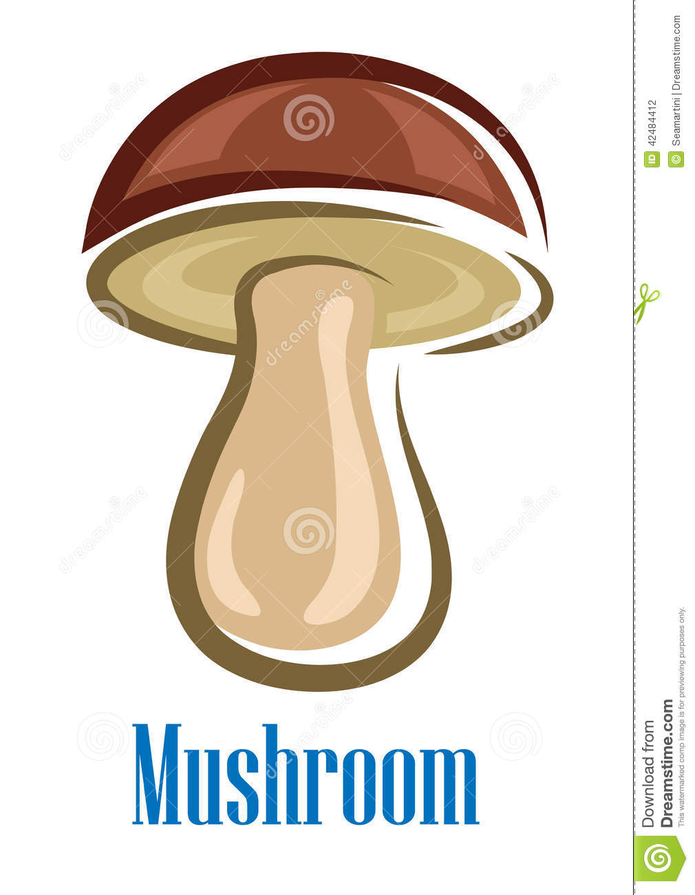 ... with brown cap isolated on white for food or fairytale design