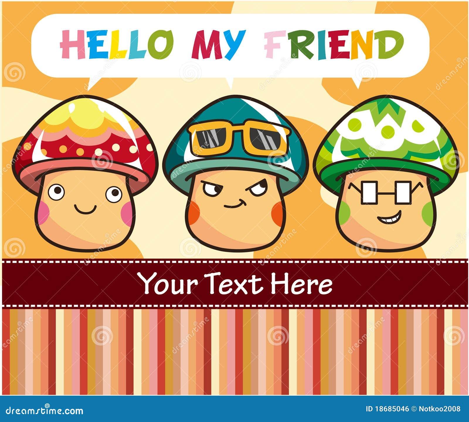 Cartoon Mushroom Card Royalty Free Stock Image - Image: 18685046