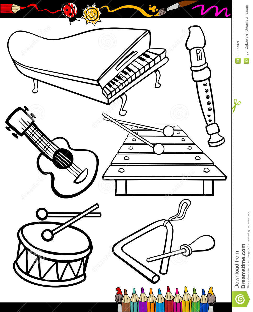 cartoon music instruments coloring page stock vector