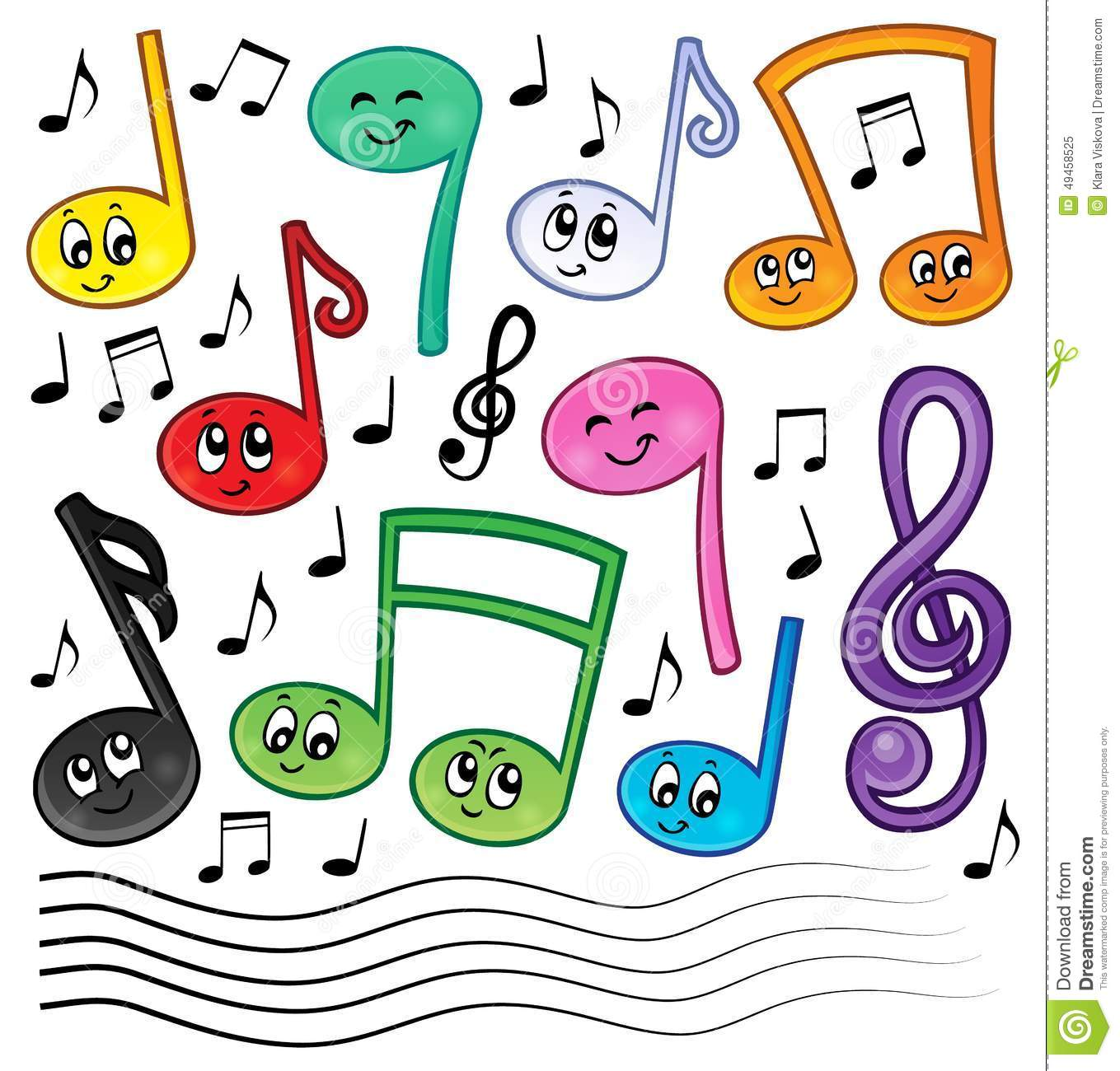 Cartoon Music Notes Theme Image 1 Stock Vector - Image: 49458525