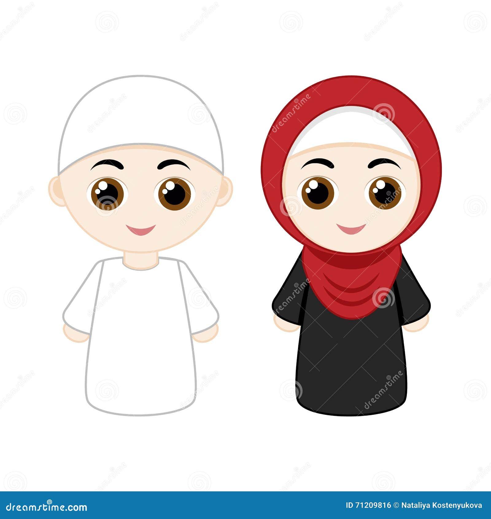 Cartoon muslim couple