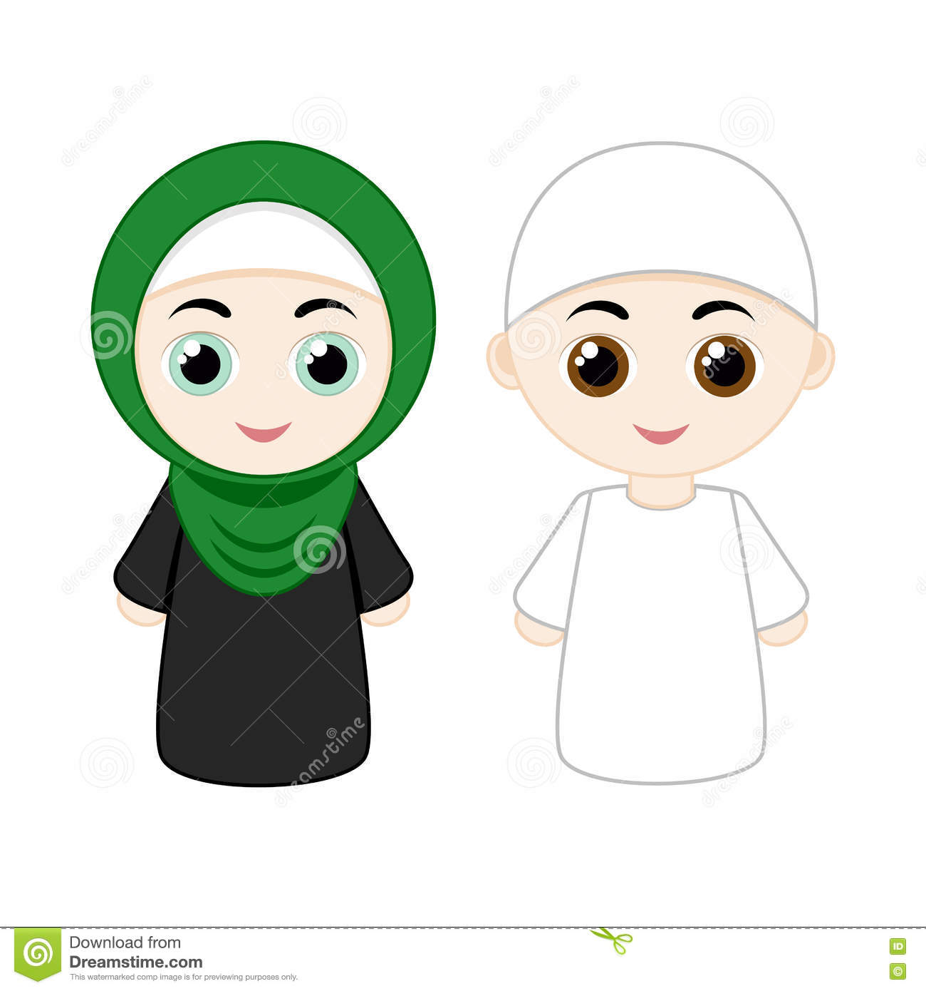 Cartoon Muslim Couple Stock Vector Image 71209830