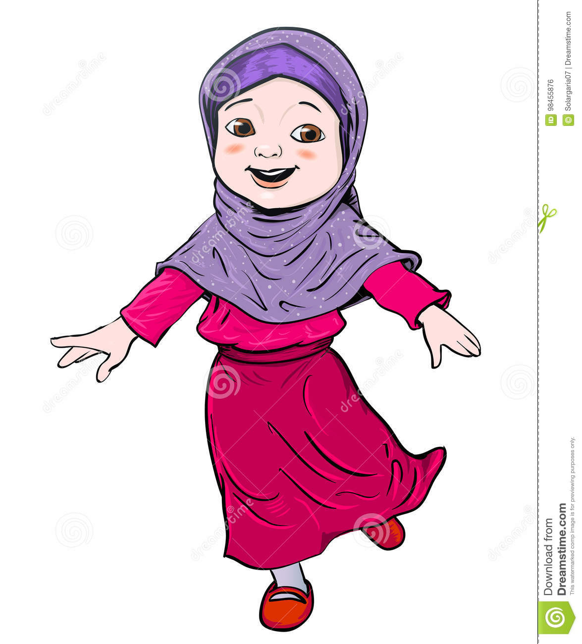 Image Result For Download A Cute Muslim Girl Cartoon Illustration Stock Vector Of Child Islamic