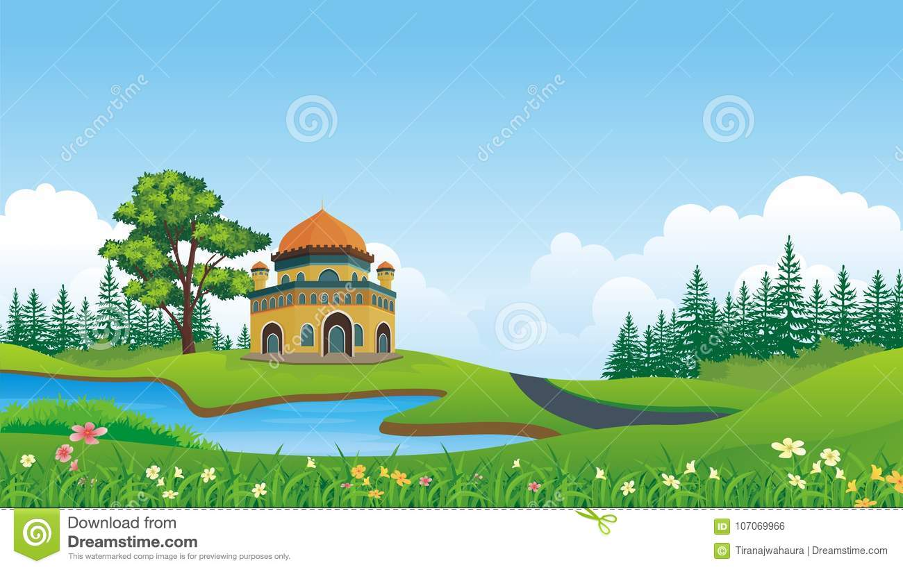 cartoon muslim mosque with beautiful landscape stock vector illustration of celebrate forest 107069966 https www dreamstime com cartoon muslim mosque beautiful landscape cartoon muslim mosque beautiful landscape nature background tree grass image107069966