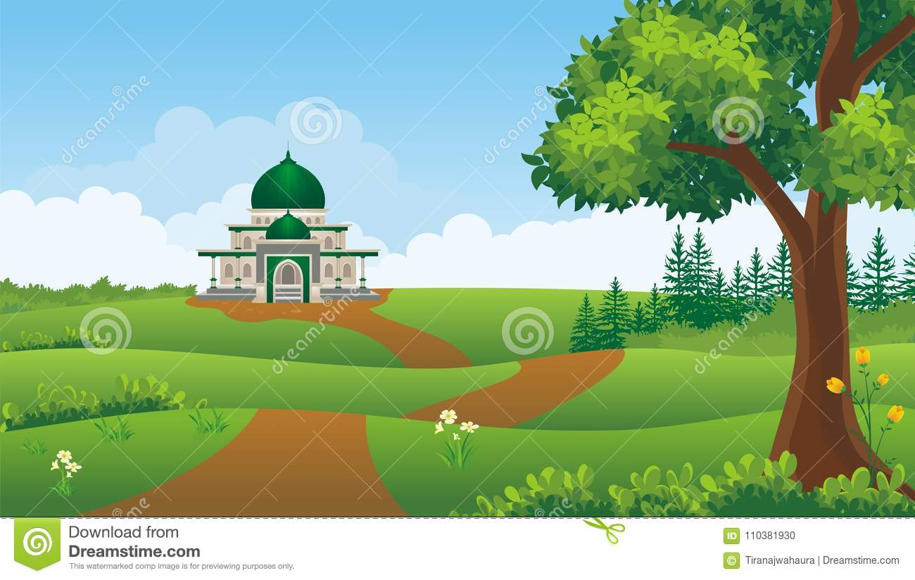 Beautiful Background For Book Cover : Cartoon muslim mosque with beautiful landscape stock