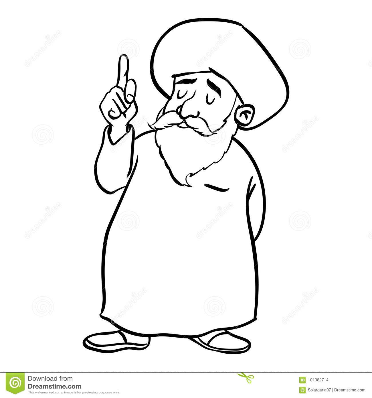 Hand Drawing Of Cartoon Muslim Old Man Standing Pointer Finger Up Isolated On White Background Black And Simple Line Vector Illustration For
