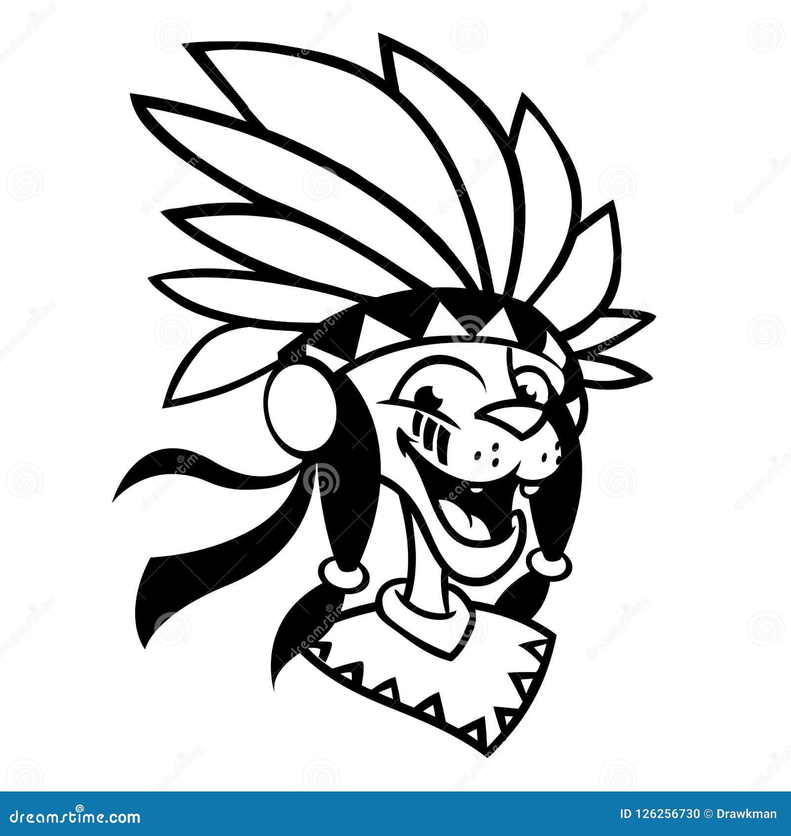 Cartoon Native American Character Coloring Book. Vector Illustration ...