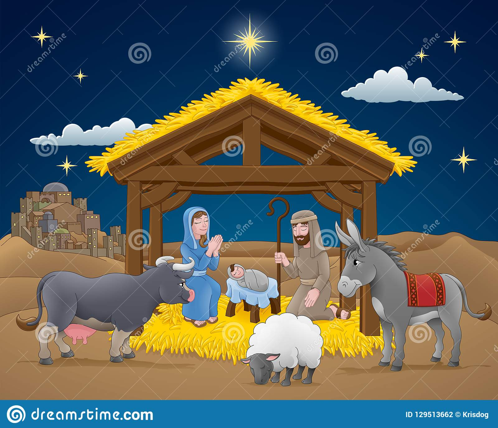 Christmas Scene Drawing.Cartoon Nativity Christmas Scene Stock Vector Illustration