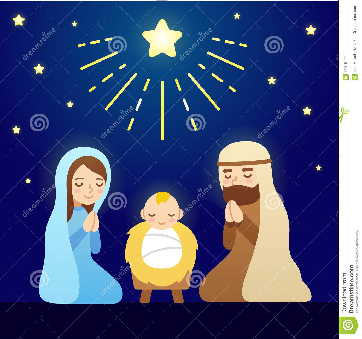 Christmas Nativity Scene with baby Jesus, Mary and Joseph under sky of ...