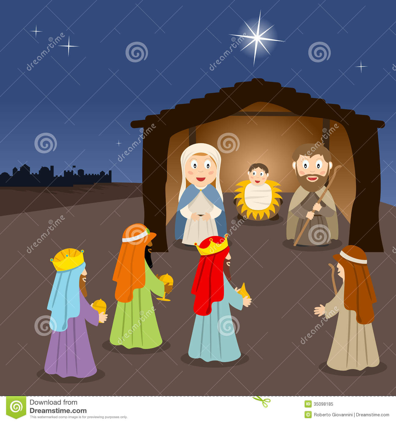 in the manger with the three wisemen and a shepherd. The silhouette ...