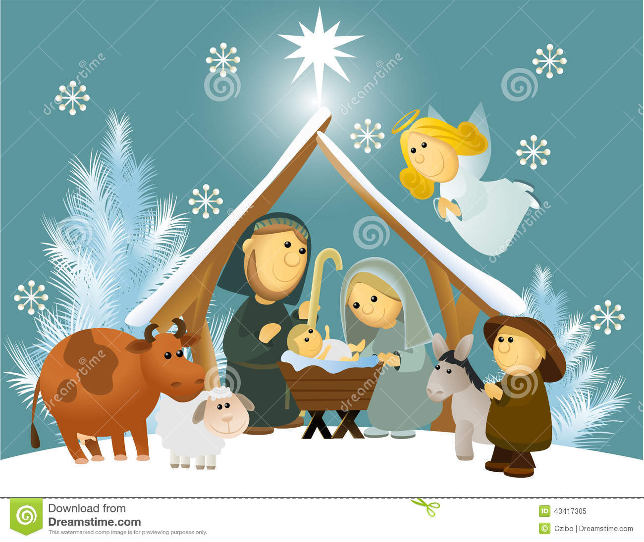 cartoon nativity scene with holy family stock vector image 43417305