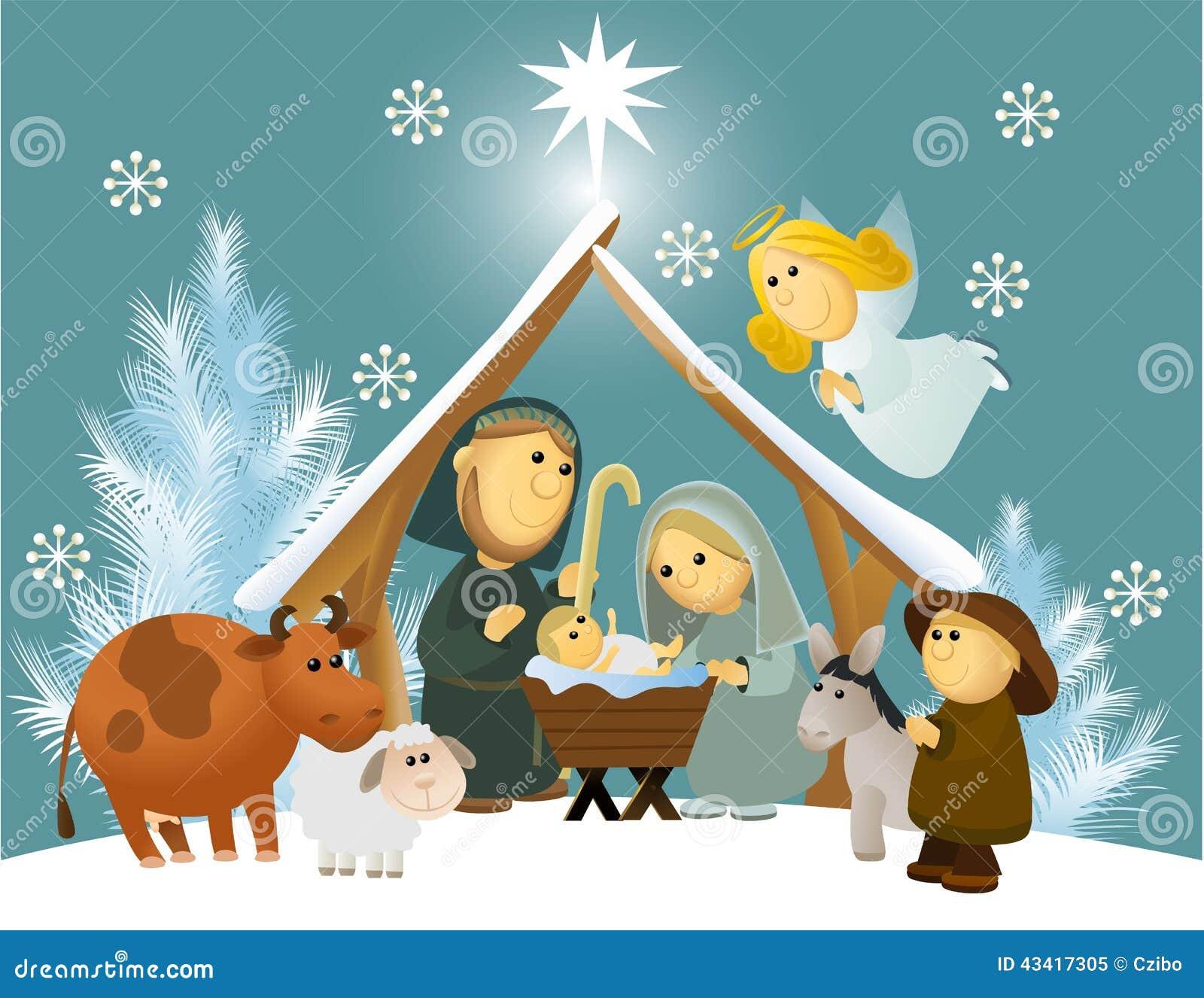Cartoon Nativity Scene With Holy Family Stock Vector - Image: 43417305