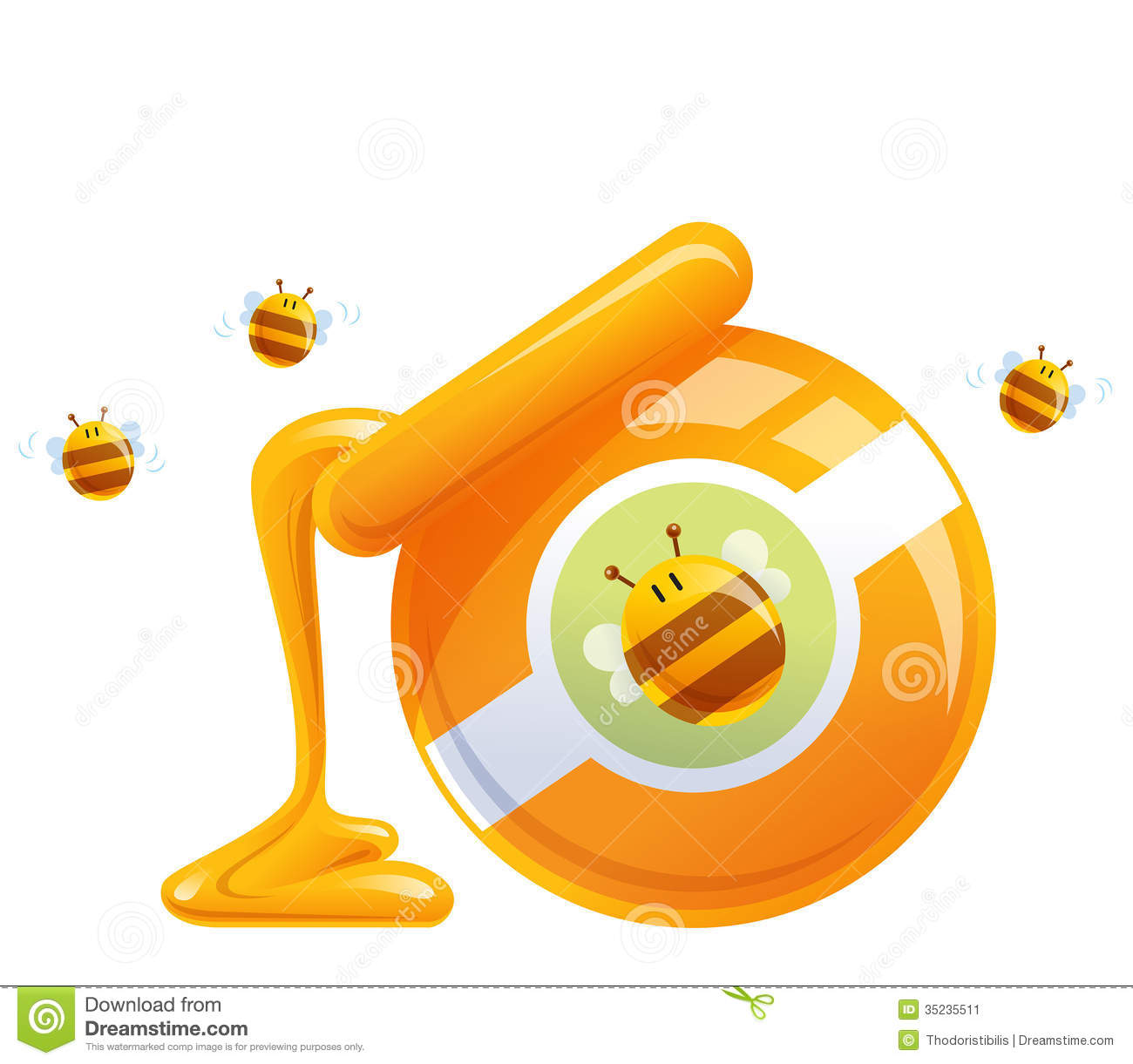 cartoon natural orange honey in jar dropping and bees